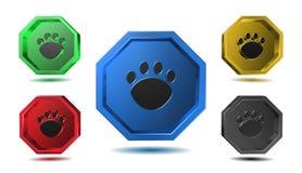 Paw Sign - icone dell'illustrazione 3D messe Fotografie Stock Libere da Diritti