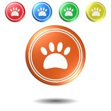 Paw Sign knapp, illustration 3D vektor illustrationer
