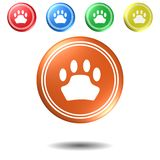Paw Sign tryckknappuppsättning, illustration 3D royaltyfri illustrationer