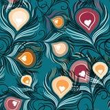Paw upierza bezszwowego wzór Wektorowa ilustracja na turquose tle Obrazy Royalty Free