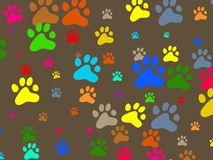 Paw wallpaper. Decorative colourful animal paw print wallpaper background design Royalty Free Stock Photography