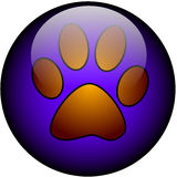 Paw web button. Glossy Web Button with Paw Stock Image