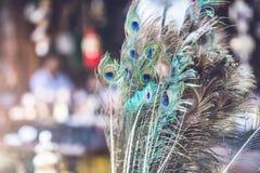 Pawia piórko na Kathmandu rynku, Nepal zdjęcie royalty free