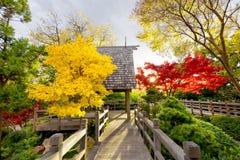Pawilonu pokład Otaczający jesieni ulistnieniem zdjęcia stock