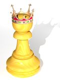 Pawn. The three-dimensional image of a pawn with a crown Stock Illustration