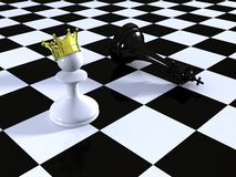 Pawn against Chess King on a chessboard. White pawn against black Chess King on a chessboard Stock Photos