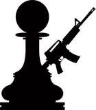Pawn assault gun. Chess black pawn with a assault gun on white background Stock Photo