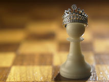 From pawn be a king. White chess pawn with the crown itself be a king Royalty Free Stock Photography