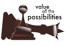Value all the possibilities. Pawn that beats the king Royalty Free Stock Images