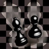 Pawn and bishop. Black pawn and bishop on a chess field Royalty Free Stock Photo