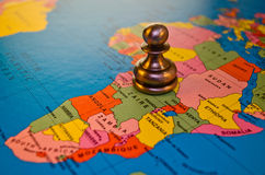 Africa Pawn in chess. A pawn piece on the nation of africa Stock Image