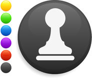Pawn chess piece icon on round internet button Stock Images