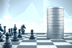 3d illustration: Chess pieces playing versus money on blue background Royalty Free Stock Image