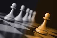 Pawn on chessboard. Close up Stock Photography