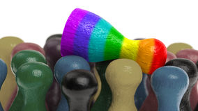 Pawn in the colors of the rainbow flag Royalty Free Stock Image