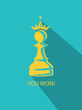 Pawn in crown flat. Vector chess pawn with a crown Royalty Free Stock Photos