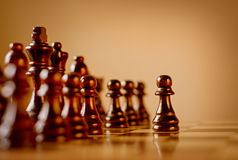 Pawn in a dark wood chess set Stock Image