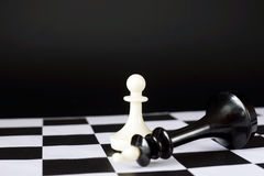 Pawn and defeated chess king. Winner and loser Royalty Free Stock Image