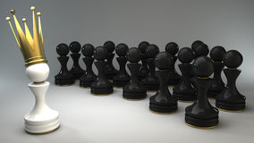 Pawn in a golden crown 3d Stock Images