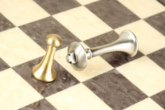 The pawn and the king royalty free stock photos