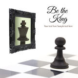Pawn looking in the mirror. And seeing a king Royalty Free Stock Photo