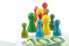 Pawn money concept. Pawns and euro money banknote Royalty Free Stock Photography