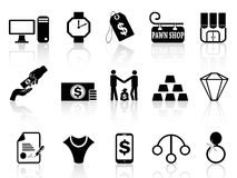 Pawn shop icons set Royalty Free Stock Photography
