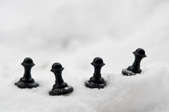 Pawn on snow Stock Photo