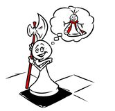 Pawn soldier dream success chess Queen cartoon illustration Royalty Free Stock Images