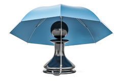 Pawn under umbrella. Security and protect or insurance concept,. 3D Royalty Free Stock Images
