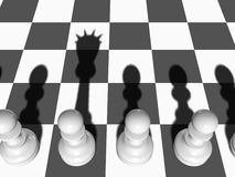 Pawn wants to be Queen. Chess. The white Pawn casts a shade of the Queen on a chessboard Stock Illustration