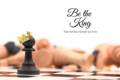 A pawn winner standing crowned as king. With copy-space Stock Photos