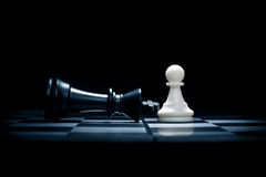 A pawn and the won king stock image
