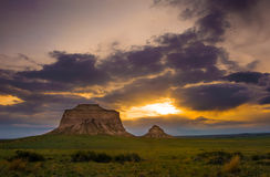 Pawnee Buttes at Sunrise. The Pawnee Buttes are two prominent buttes located within the Pawnee National Grassland in Weld County, of northeastern Colorado Stock Image