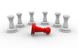 Pawns. On white background. Leadership. 3d render Royalty Free Stock Photography