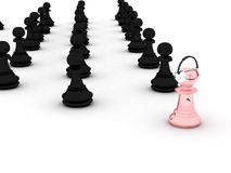Pawns. Black and pink pawns.  Represents conception of: advancement, growth, progress, evolution etc Royalty Free Stock Photos