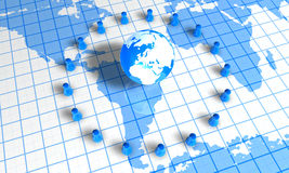 Pawns Around World. 3d image of pawns around earth Stock Images