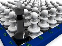 Pawns attack king Stock Photos
