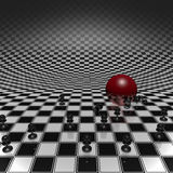 Pawns and ball on checkerboard. Set pawns and red ball on a chessboard infinitely large Royalty Free Stock Photography