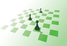 Pawns in a chess board Royalty Free Stock Images