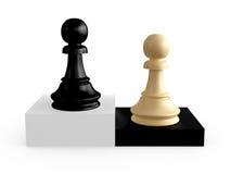 Pawns on Chess Board Blocks Stock Photo