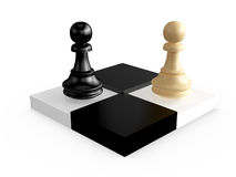 Pawns on Chess Board Blocks. Black and brown pawns on chess board cells, isolated on white background Stock Image