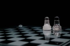 pawns on chessboard Royalty Free Stock Photography