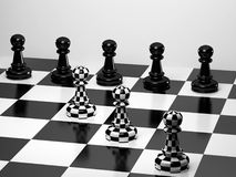 Pawns on Chessboard Stock Photography