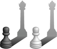 Pawns dream of being queens. This is an illustration of chess pawns yearning to become queens Stock Image