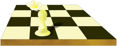 Pawns dreams. Pawn dreams about the crown Stock Images