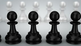 Pawns. Gray background, loop, 3d render