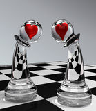 Pawns In Love. 3d illustration of chess-Pawns In Love Royalty Free Stock Photos