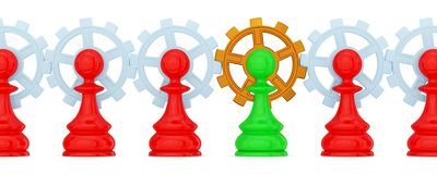 Pawns merged with gears Royalty Free Stock Photo
