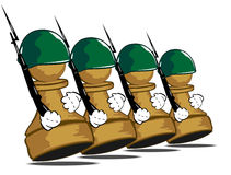 Pawns at parade. Vector illustration of brave pawns at parade Stock Image